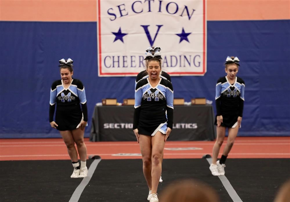 Midlakes cheer performs during sectionals